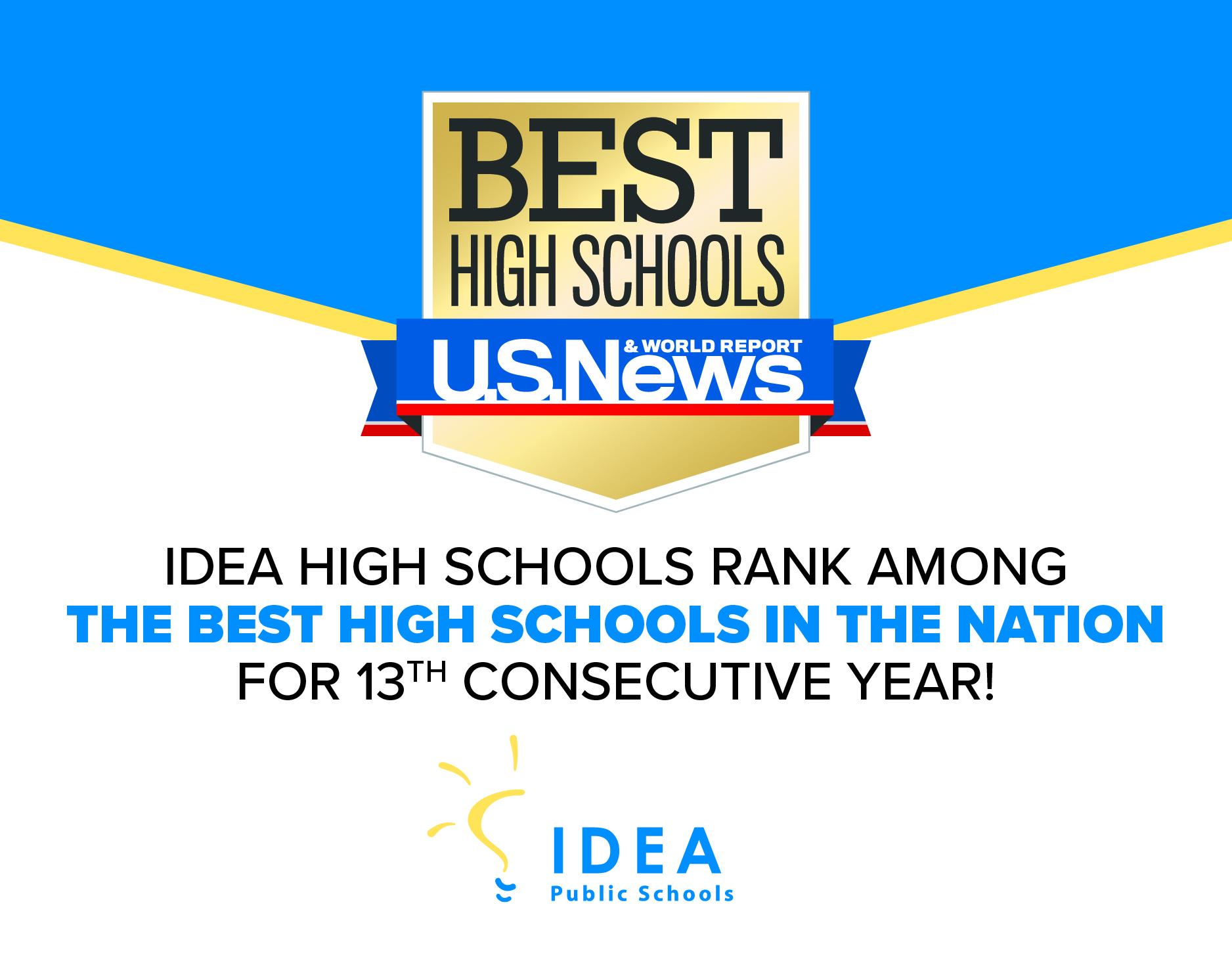 15 IDEA High Schools Rank Among U.S. News & World Report's 2021 Best High Schools   IDEA Public Schools